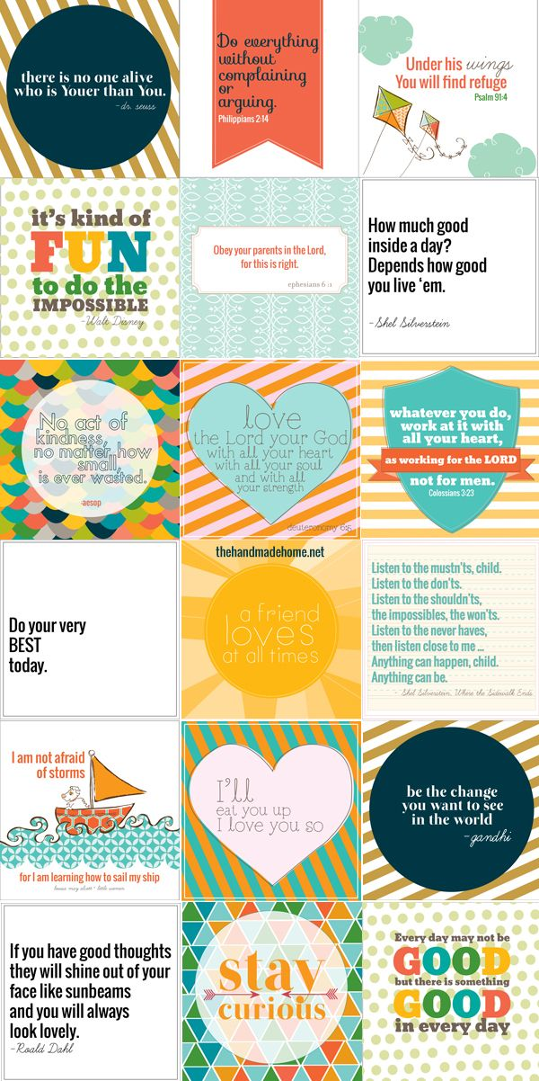 freebie of the month : positive printables | the handmade home