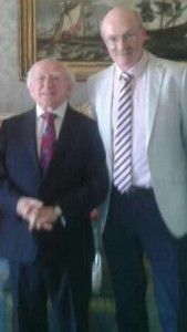 Brian Gallagher, author of Friend or Foe, with President Michael D.Higgins.