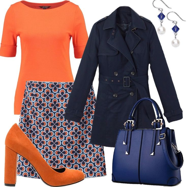 Un outfit molto easy, pratico, colorato pensato per una curvy. Trench blu nel classico modello a doppiopetto, con cintura da annodare, gonna corta a trapezio in fantasia blu, arancio e bianco. Maglia arancio con scollo a barchetta. Décolleté arancio con tacco largo e punta arrotondata. Pratica borsa a mano blu, con tracolla e particolari dorati. Orecchini pendenti con perla bianca.
