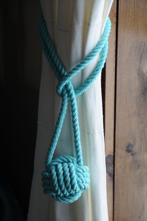 Nautical Decor Nautical Curtain Tie Backs Aqua Curtain by OYKNOT