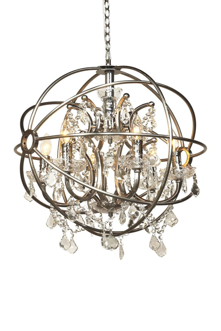 128 best lights on images on pinterest chandeliers light chandelier with cascading crystal accents surrounded by an armillary inspired shade in brushed nickel arubaitofo Choice Image