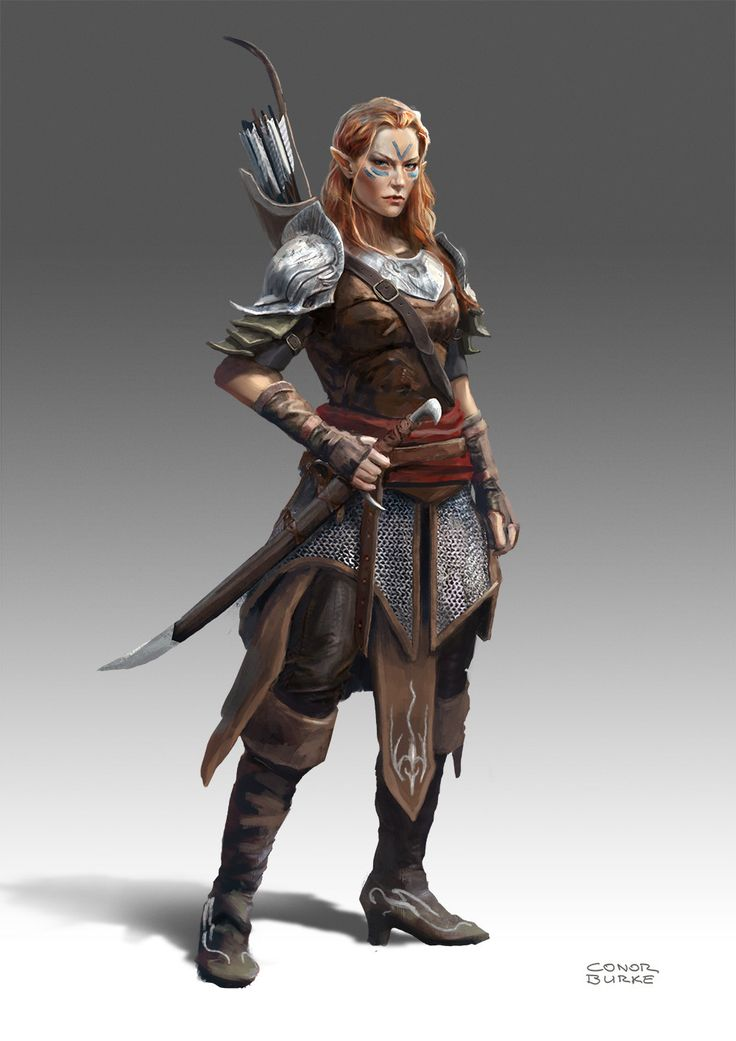 Elf Ranger A fun character design exercise, largely inspired by the Scoia'tael of the Witcher universe. Conor Burke