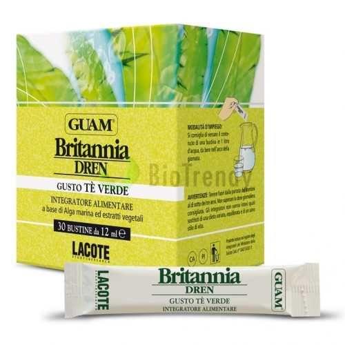 Guam Britannia Dren to suplement diety w postaci saszetek, składający się z składników odżywczych m.in.takich jak: algi Guam (bogate w wapń, żelazo oraz jod), morszczyn pęcherzykowaty (normuje metabolizm komórek), zielona herbata (eliminuje wolne rodniki odpowiedzialne za proces starzenia się organizmu), herbata jawajska (właściwości oczyszczające i moczopędne) oraz wiązówka błotna (zapobiega zatrzymywaniu wody w organizmie). Link: http://www.biotrendy.pl/produkt/guam-britannia-dren/