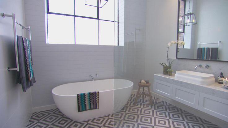 The Block Glasshouse - Darren & Dee's beautiful main bathroom