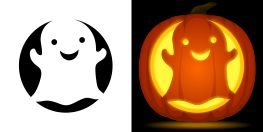 Cute Ghost Pumpkin Stencil