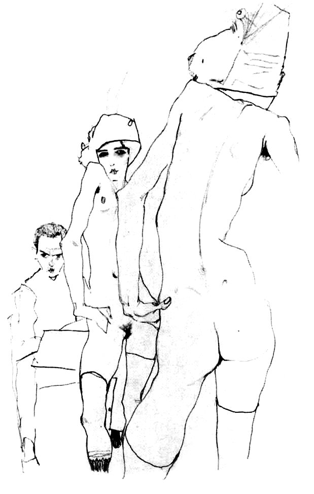 """Nude before mirror"" - drawing by Egon Schiele featured on www.patriciabeykrat.com"
