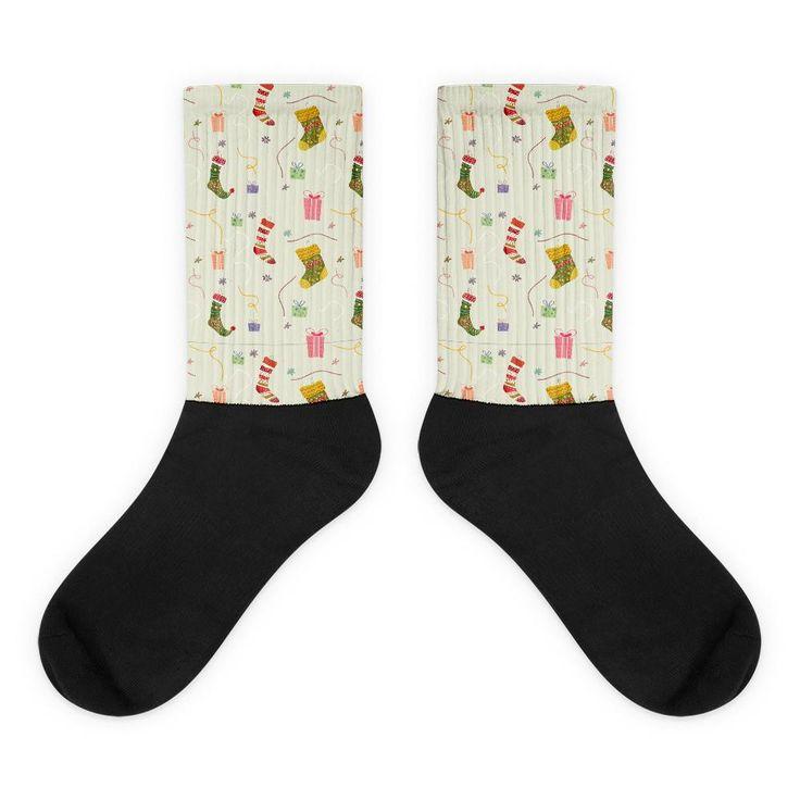 Presents and Stockings Pattern Black Foot Socks