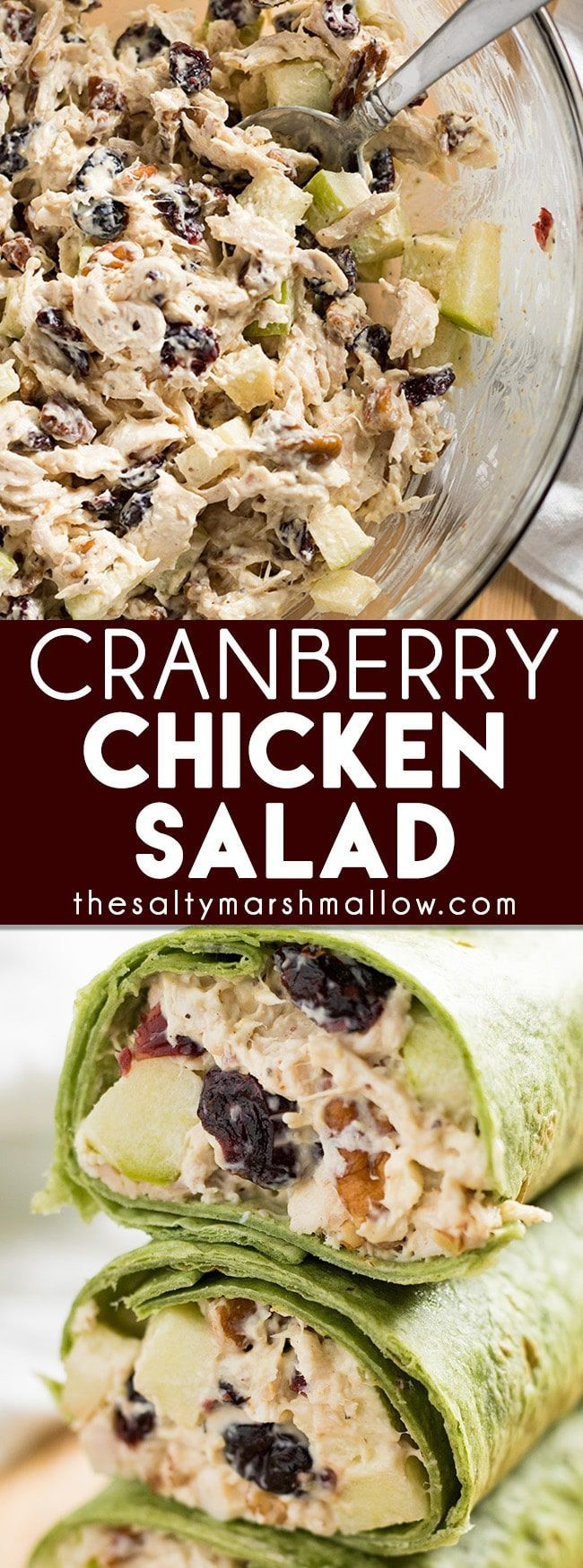 Cranberry Chicken Salad – The best ever chicken salad that is full of cranberries, apples, and pecans! This chicken salad makes the perfect wrap or sandwich for a light fall lunch or dinner!
