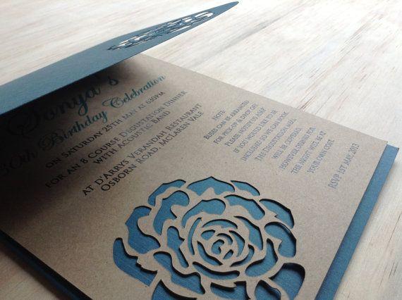Rose Wedding Invitation  DIE Cut  Elegant Rose by TheFindSac