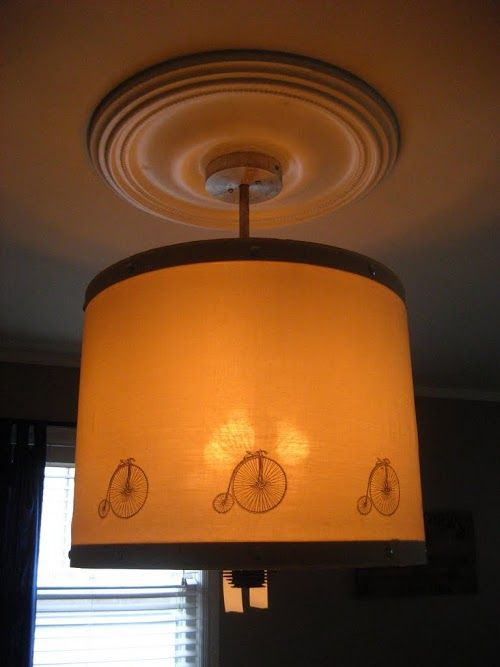 Upcycled Bicycle Tire Drum Pendant Light