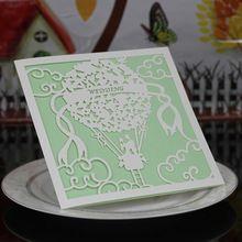 20 pz/pacco invito partito decorazione carta lacer cut hot air balloon openwork modello di nozze invito forniture di nozze(China (Mainland))