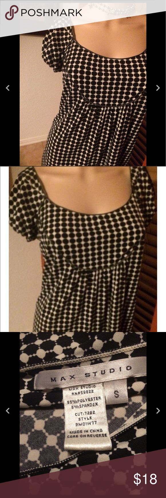 Max Studio By Leon Max Edition top Small Max studio black & white top small preowned but still nice  **No Trades** Only Reasonable offers will be considered **sold as is in preowned/ used condition with the expected wear associated with/to preowned used items Max Studio Tops Blouses