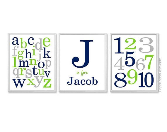 Boys ABC and 123 nursery art print set with monogram and name. Custom colors available. Shown in lime/teal/grey plus other combos. Great for
