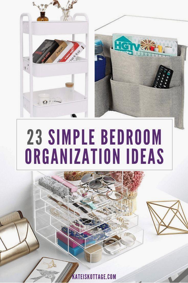 Simple Bedroom Organization Ideas - KatiesKottage  Small bedroom