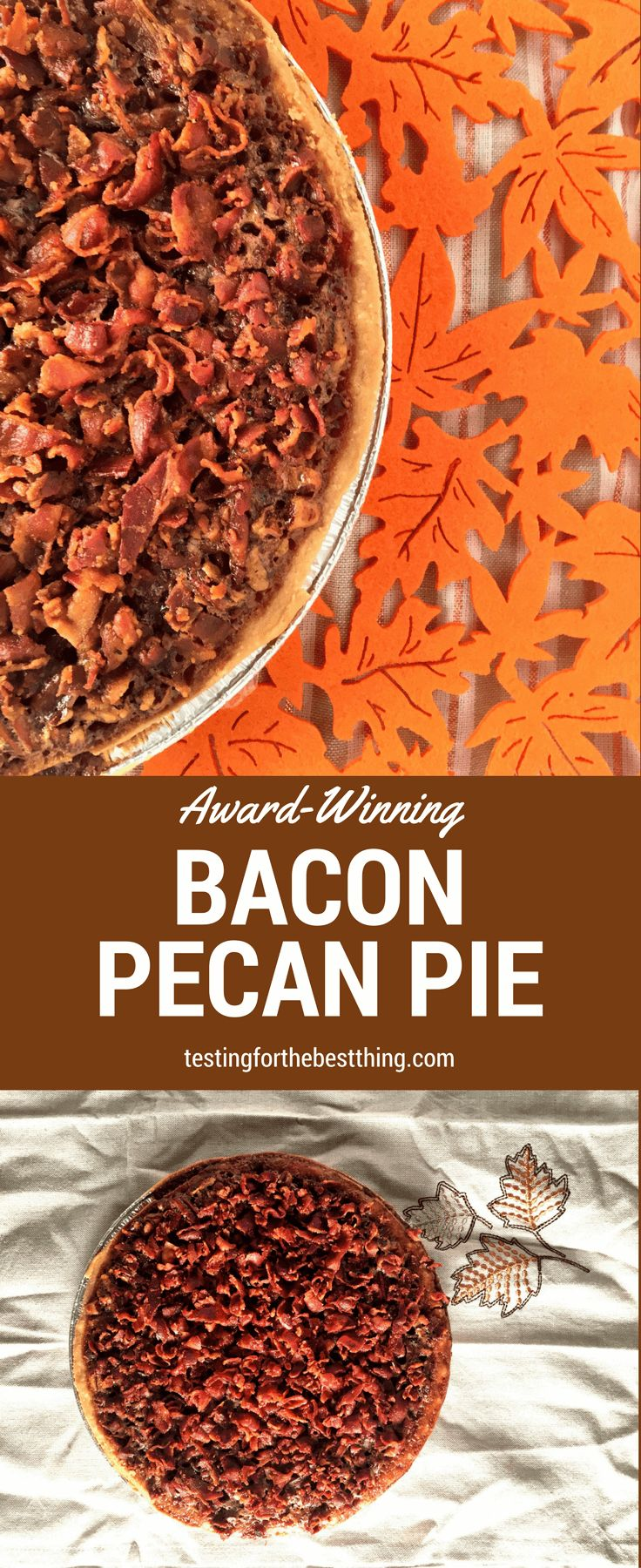 This award-winning bacon pie is amazing. It's festive, unique and one of the tastiest things you'll make this season. Your guests will go wild for it! - www.testingforthebestthing.com/award-winning-bacon-pecan-pie/