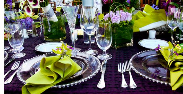 Purple and Green Wedding Table Setting