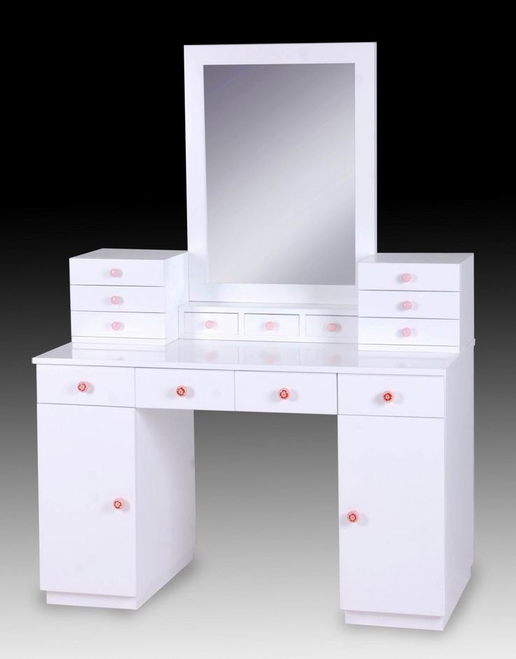White glossy wooden vanity dressing table with storage for White makeup desk with mirror