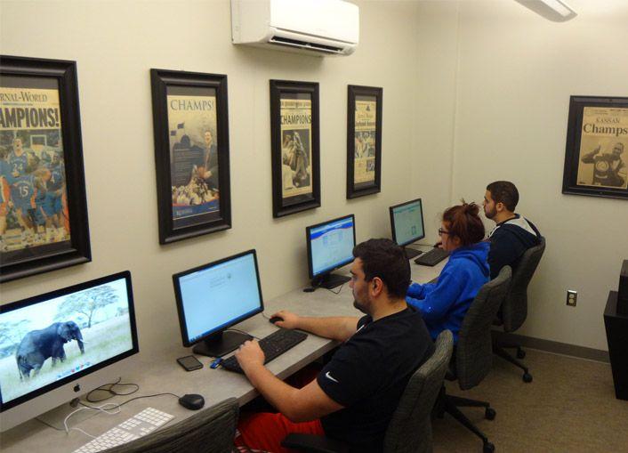 Enjoy our 24 hour computer lab. It's the perfect place to print your reports or KU basketball tickets. #NaismithHall #KU #UniversityofKansas