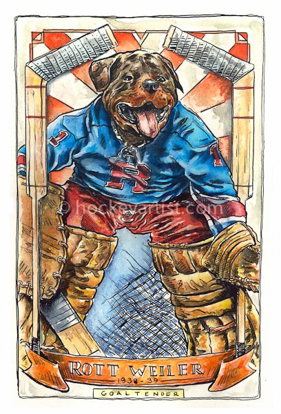 Hockey Dogs - Painting of Vintage hockey card of a Rottweiler dog as a Goalie. Painted by hockey artist Cam Wilson. Limited Edition Prints available 20%OFF www.oldskullhockey.com