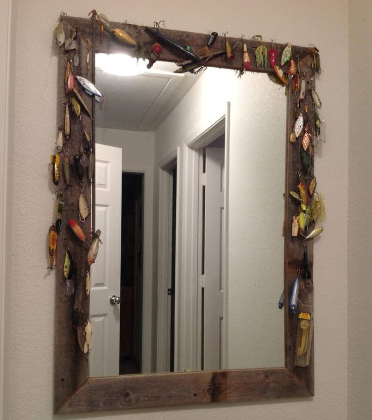 DIY fishing lure mirror for lakehouse. My mom made this. Super cute & super easy! :) The options are endless for whatever theme you have going on