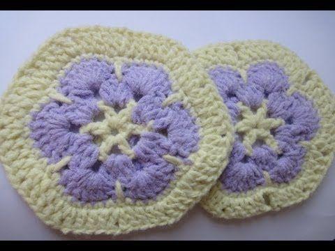 ▶ Африканский шестиугольный цветок Вязание крючком Afghan hexagonal flower Crochet - YouTube