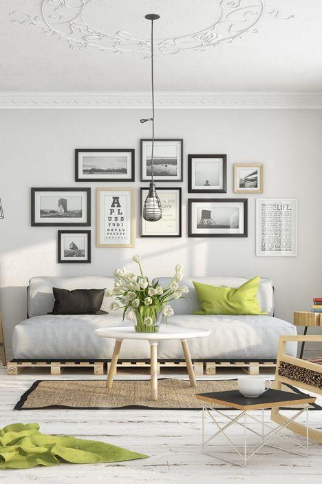 Point focal dans le salon avec les photographies  http://www.homelisty.com/idees-decoration-murale-photos/