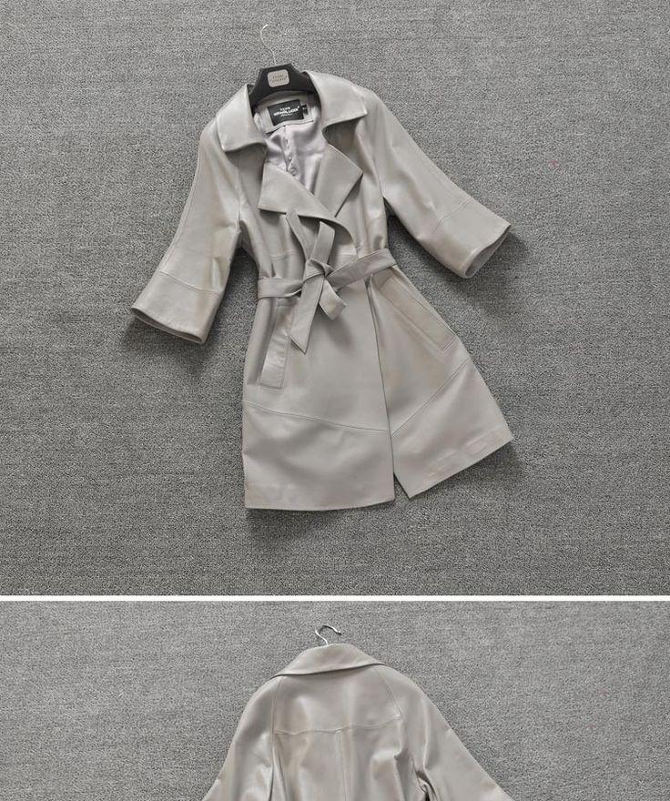 Женщины натуральной овчины кожаные куртки марка дизайн звезда тонкий ремень половина рукава мода длинный жакет пальто Jaqueta весна купить на AliExpress
