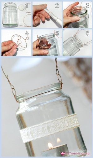 hanging mason jars with candles inside are so cute to decorate occasions