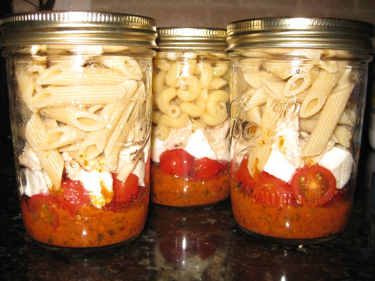 My first try at Mason jar meals. I used pesto, tomatoes, fresh mozzarella, grilled chicken, and pasta. Can't wait for lunch tomorrow!