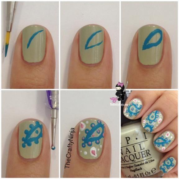 Beauty Tip: DIY Nails Art / DIY Paisley Nail Art - Fereckels