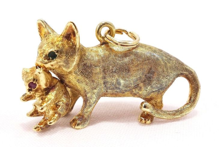 14k Solid Gold Charm Cat Kitten Vintage Heavy Gold Emerald Ruby ~ 15.81 grams ~ 32 x 10mm ~ $675.00