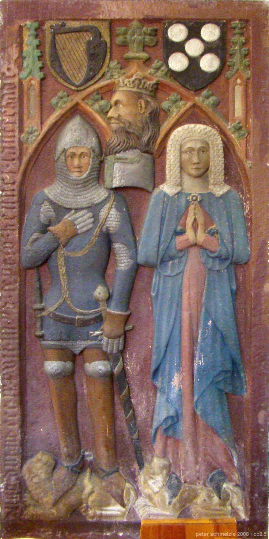 Hennel Landschad von Steinach († 1377) und seine Frau Mia von Sickingen, Epitaph in der Kirche zu Neckarsteinach.