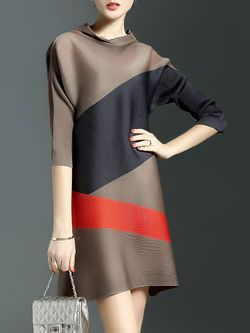 Brown Crew Neck Color-block A-line Simple Mini Dress