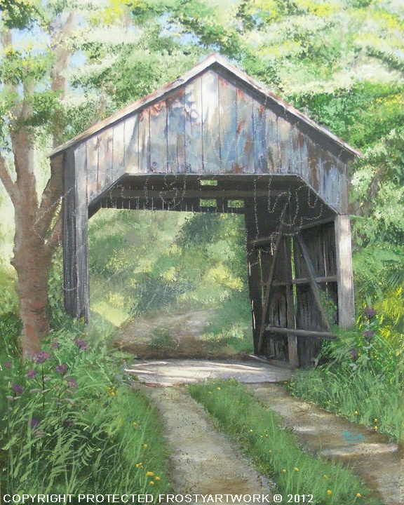 """Valley Pike ( Bouldin) Covered Bridge, in Mason Co., is over one hundred years old. It's about twenty Five Feet long an is an authentic covered bridge.    The painting is number seven of paintings by Frosty Rankin, in 2012. It will go in the Covered Bridge Series, along with the other seven completed. It is a 16"""" x 20"""" Acrylic, on Art Board."""
