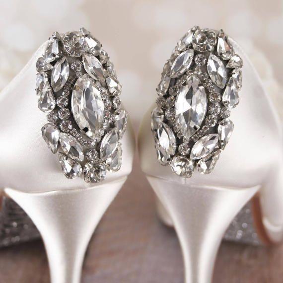 Bling Wedding Shoes, Wedding Shoe Bling, Closed Toe Shoes, Custom Wedding  Shoes, Ivory Wedding Shoes, Crystal Heels, Chiffon Wedding