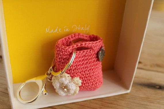 Key holderCrochet purse keychainPink Camellia purse by LiveFashion