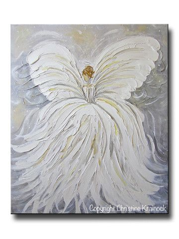 """""""Her Angel"""" ORIGINAL #Art Abstract #Angel Painting White Grey Gold Inspiration Guardian Angel Artwork Textured Palette Knife Spiritual Wall Art Modern Fine Art Canvas Home Decor 20x24"""" -Giclee Canvas Prints available - by Contemporary Artist, Christine Krainock Contemporary Art by Christine"""