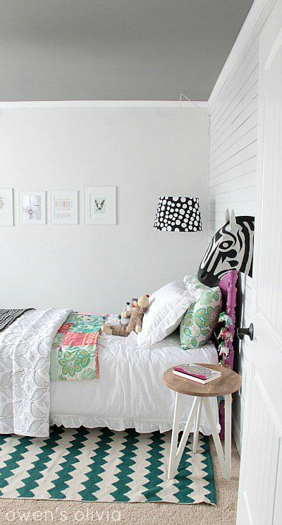Beautiful creative girl's room - Sharpie wall, painted ceiling, and trendy contrasting accents.