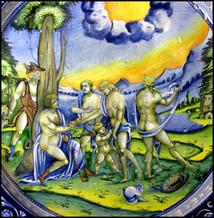 Chateau-Ecouen-Plat: le Jugement de Paris (1532). Devenu adulte, il se fait reconnaître comme prince troyen. Un jour qu'il garde ses troupeaux, il voit apparaître devant lui Aphrodite, Athéna et Héra, qui lui demandent de choisir à qui la pomme de discorde, destinée à la plus belle des déesses de l'Olympe, doit être remise. Pâris opte en faveur d'Aphrodite, qui lui promet l'amour de la plus belle femme du monde. Il enlève donc Hélène, femme de Ménélas, ce qui déclenche la guerre de Troie....