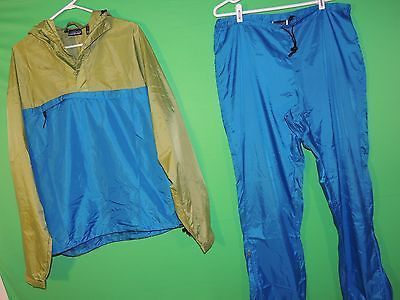 Patagonia Men's Size L Large 100% Nylon Blue / Green Hooded Track Suit