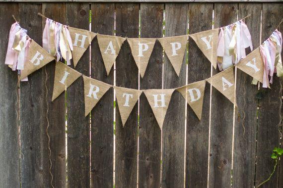 Happy Birthday Burlap Banner-Birthday Bunting-Rag Tie Garland-Rustic Birthday Decor-Birthday Photo Prop-Pink and Gold Burlap Birthday Banner