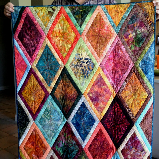 Diamond Batik Quilt -- Like The Quilting