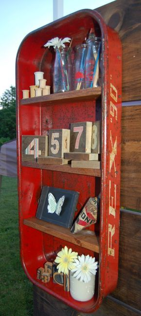 repurposed chair shelf | wagon shelf home decor repurposed vintage radio flyer wagon shelf ...