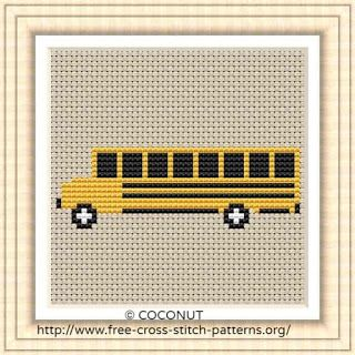 School bus, Free and easy printable cross stitch pattern | Cross