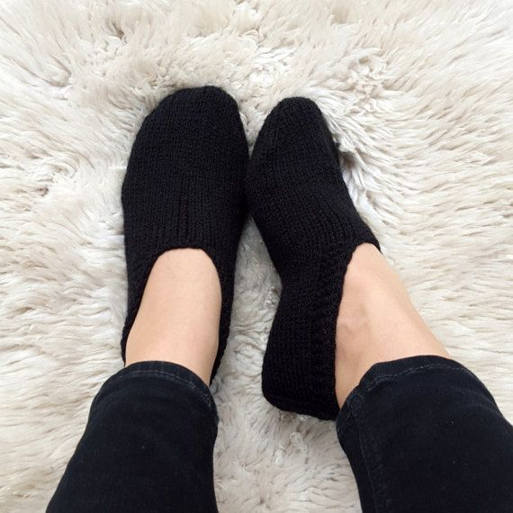 Black slippers hand knitted cozy home shoes wool slippers