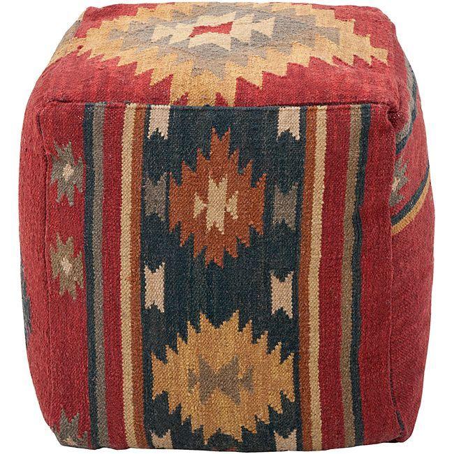 Decorative Southwestern Maroon Pouf, Red, Size 18 x 18 (Wool)