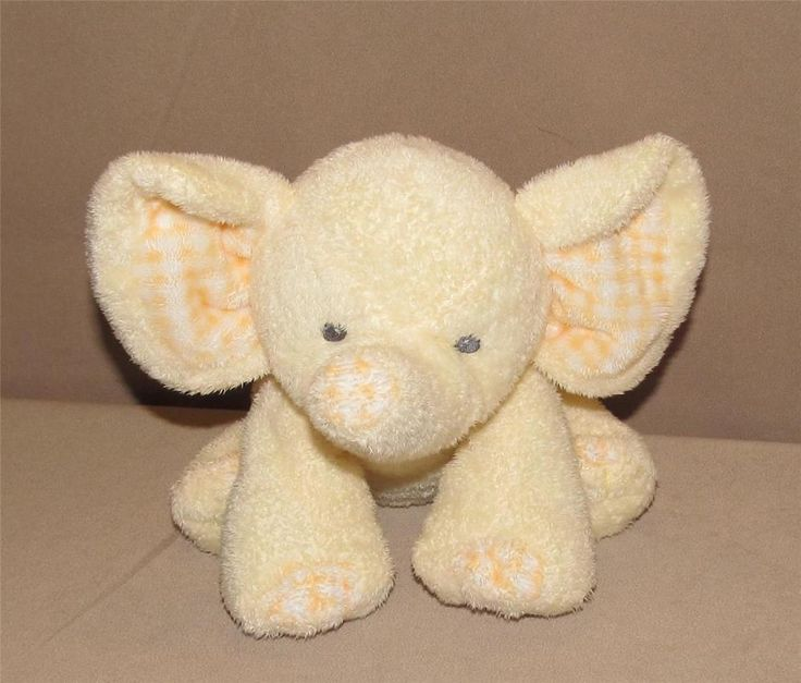 Ty Pluffies Baby P'Nut Yellow Elephant Plush Peanut Toy Beanie Checked Ears 2007 #Ty