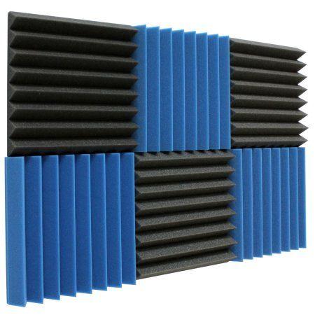 "6 Pack Acoustic Panels Studio Foam Wedges 2"" X 12"" X 12"", Ice Blue/Charcoal"