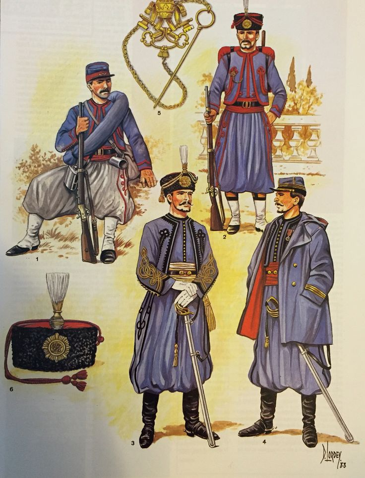 Papal Zouaves 1860's 1. Service uniform 2. Parade uniform 3. Lieutenant I parade uniform  4. Captain with hooded jacket (Caban)