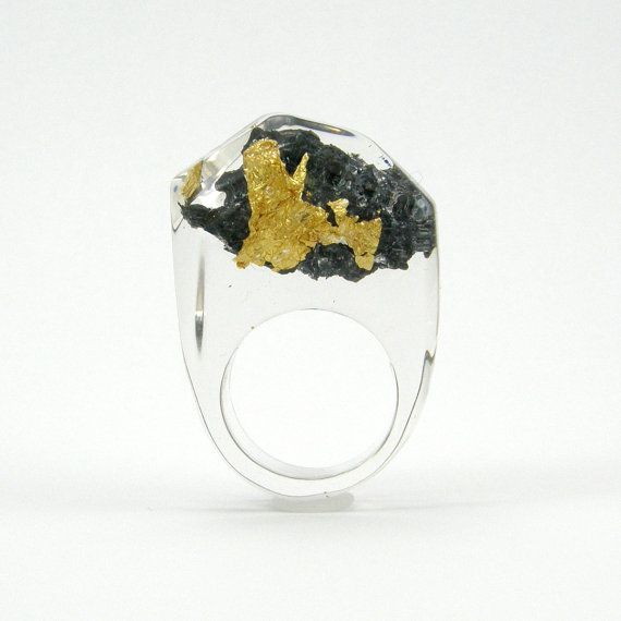 SALE  20 Off   Gold 24K and Carborundum Ring Unique di sisicata, $52.00